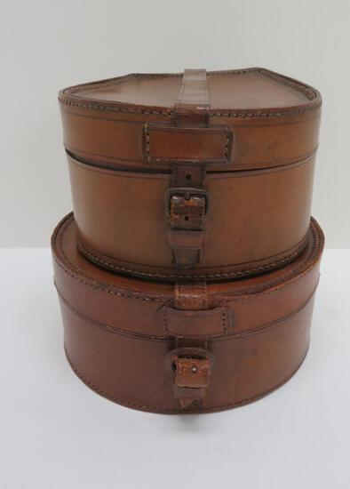 """Two leather storage boxes, collar dresser boxes, 6"""" and 7"""""""
