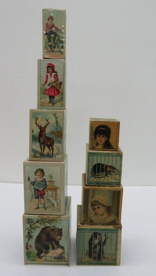 Adorable stacking paper litho blocks, two sets