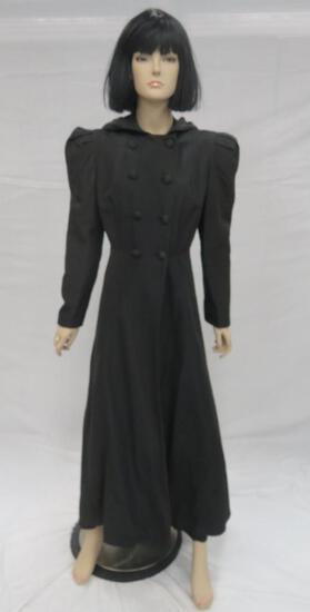 Vintage Black Walking Coat with hood, full length, Watt & Shand Lancaster Penna