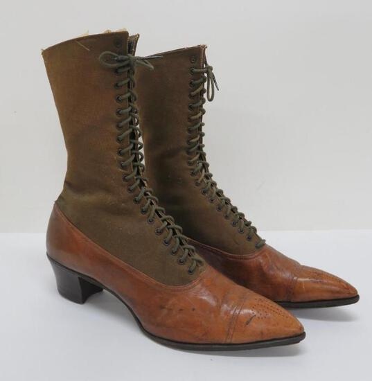 Lovely leather and canvas high top boots, marked Sterling Shoes on sole