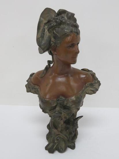 "Metal sculpture, bust of a woman, bronze patina, 11"", Art Nouveau"