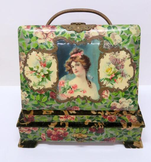 Vintage Celluloid photo album on stand with drawer, lovely floral and pretty lady