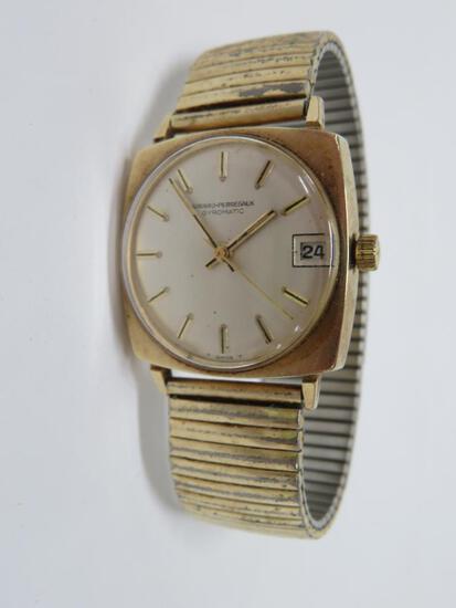 14kt gold mens wrist watch, Girard Perregaux, Gyromatic