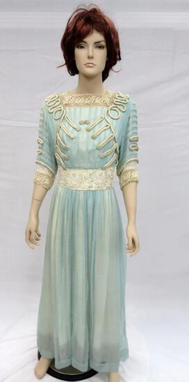 Lovely blue satin dress with embellishments