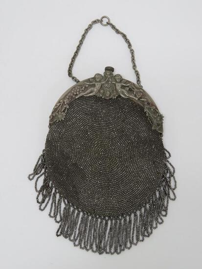 """Lovely cherub frame, steel facet purse with leather back, 7"""" with fringe"""