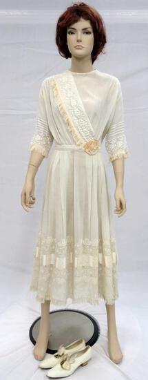 Prairie style, Boho tea length dress with shoes