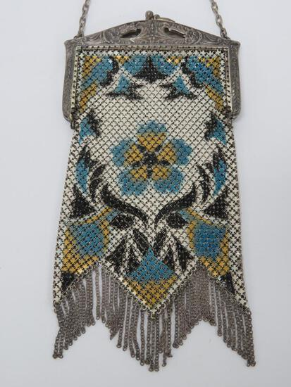 """Mandalain enamel mesh purse, blue and yellow floral, 8"""" with metal chain fringe"""
