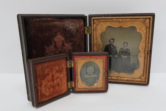Two Gutta Percha daugerotypes, ornate cases, dog with children and thistle swag