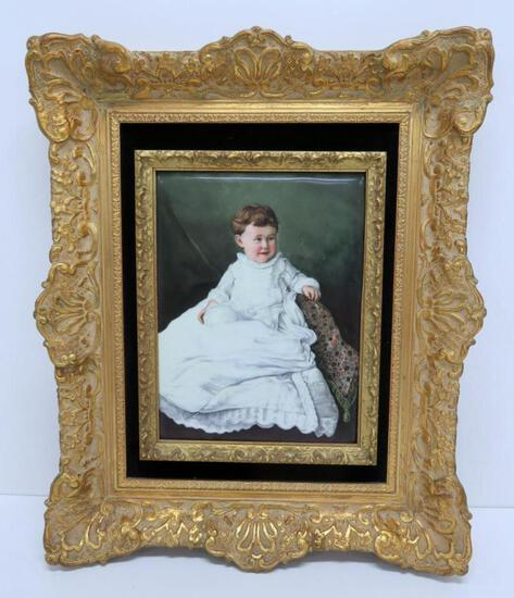 Rare large porcelain painted portrait of a child with ornate frame