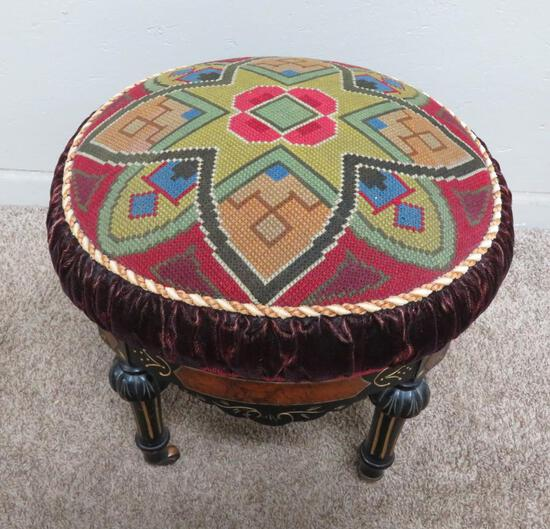 """Lovely needlepoint top ornate footstool, geometric pattern, 20"""" diameter and 17"""" tall"""