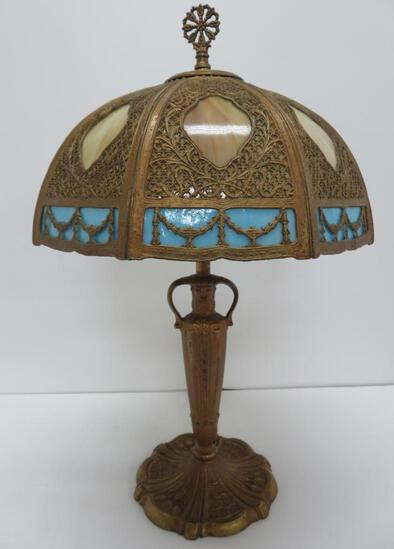 """Lovely slag glass with ornate metal overlay table lamp, 24"""" tall with finial - DOES NOT SHIP"""