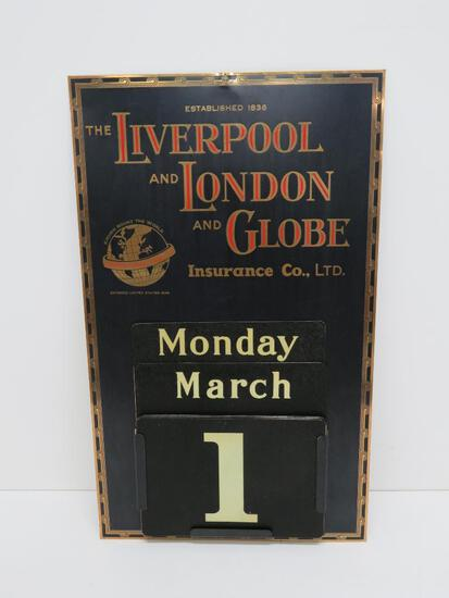 """Outstanding Metal advertising calendar, Liverpool and London Globe Insurance Co , 12"""" x 20"""""""