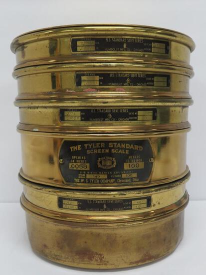 """Tyler Standard Screen Scale, brass, six pieces, 8"""" diameter"""