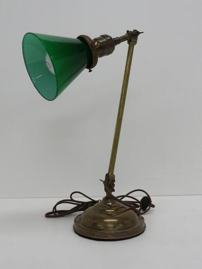 "Bristol shade metal desk lamp, working, 16"" tall"