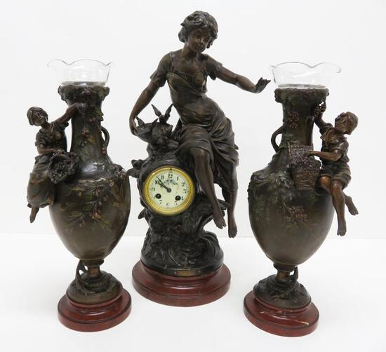 Gorgeous F. Moreau French Figural clock and side vases, titled Premier Fruit