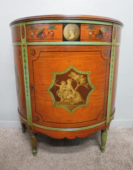"Wonderful 20th Century Demilune side Cabinet, Johnson-Handley-Johnson, Grand Rapids, MI, 35"" tall"