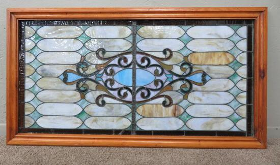 """Lovely multi colored Stained and Leaded Glass Window, 53"""" x 29"""""""