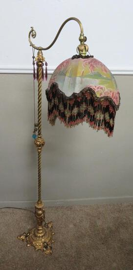 """Fantastic Beaded and painted Shade Floor Lamp, 58"""" tall"""