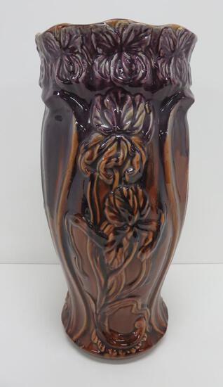 "Iris Majolica style glaze umbrella stand, purple, 19 1/2"", attributed to Weller"