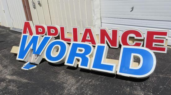 """Large Appliance World sign, 12' long World and 16' 3"""" Appliance"""
