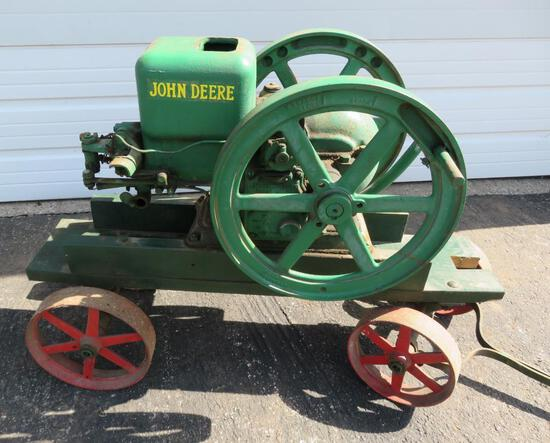 John Deere Hit and Miss Engine on manufactured cart, Type E, 1 1/2 HP