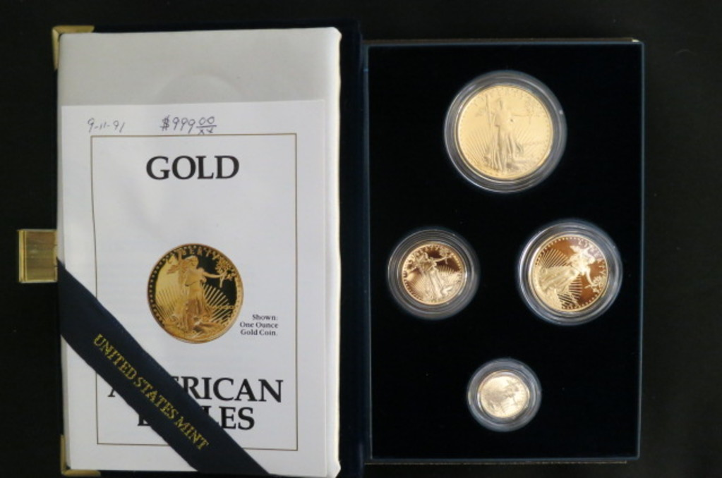 1991 - 4 COIN PROOF GOLD AMERICAN EAGLE SET IN BOX