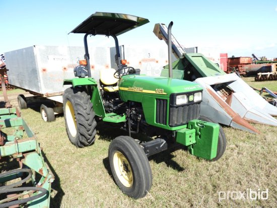 John Deere 5103 Tractor, s/n PY5103U003670: Canopy, Front Wts., 432 hrs
