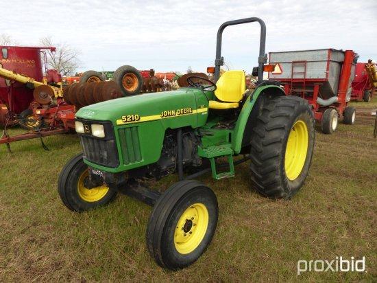 John Deere 5210 Tractor, s/n LV5210S220695: Roll Bar, 2wd, 3415 hrs
