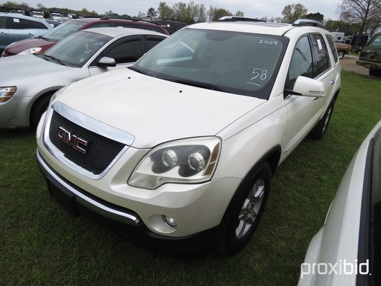 2009 GMC Acadia SUV, s/n 1GKER33D19J124222: Odometer Shows 171K mi.
