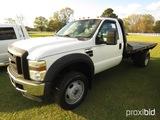 2009 Ford F550XL Flatbed Truck, s/n 1FDAF56Y09EA25893: Super-duty, 6.8 Trit