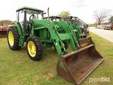 John Deere 6605 MFWD Tractor, s/n L06605Y337464: C/A, JD 740 Loader, 18.4-3