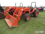 Kubota M8560 MFWD Tractor, s/n 59452: LA1353 Loader w/ Bkt., Rollbar, Meter