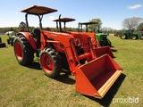 Kubota M7040 MFWD Tractor, s/n 92310: 2-post Canopy, Kubota LA1154 Loader,
