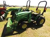 John Deere 4110 MFWD Tractor, s/n LV4110H210086: Front Loader, Meter Shows