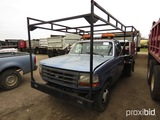 1997 Ford F350XL Flatbed Truck, s/n 1FDJR37W5VEC07358 (Salvage): Gas Eng.,