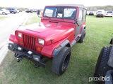 1987 Jeep Wrangler 4WD, s/n 2BCCV8118HB544052: Soft Top, 5-sp., Odometer Sh