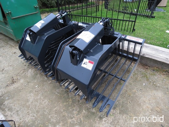 Unused Stout HD72-3 Rock Bucket / Brush Grapple w/ Skid Steer Quick Attach: