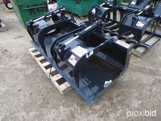 New Stout HD72-FB Extreme Duty Hydraulic Grapple: Solid Bottom, Skit Steer
