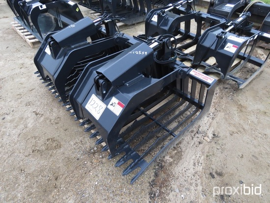 Unused Stout HD73-3 Rock Bucket/Brush Grapple Combo: Open End, Skid Steer Q
