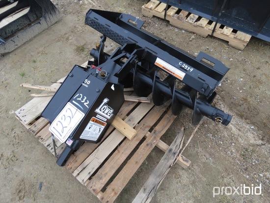 "Unused Lowe 750 Hydraulic Auger; 12"" Bit, Skid Steer Quick Attach"