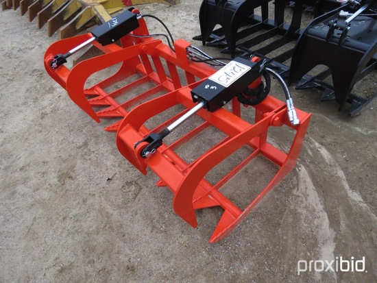 """CID 72"""" Brush Grapple for Skid Steer: Kubota Compatible Lines for Hydraulic"""