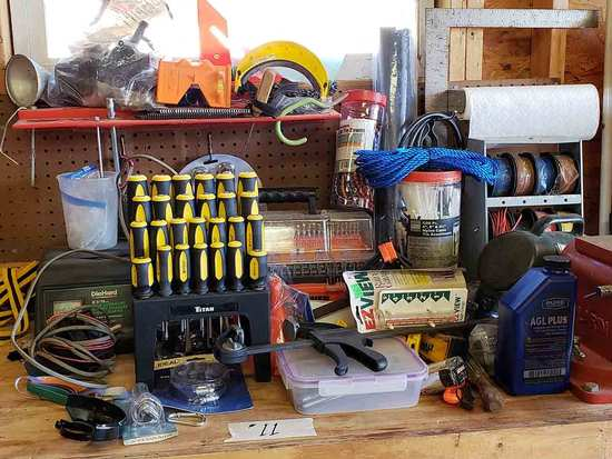 Lug Nuts, Screw Drivers, Drill Bits, Wire, Level, Misc. Items