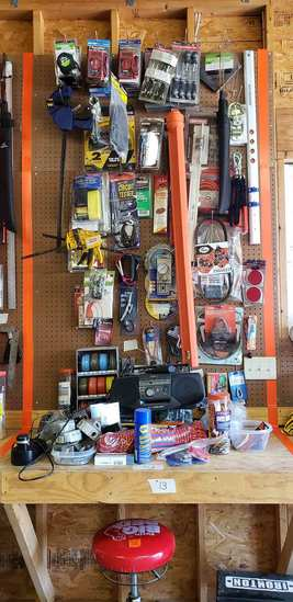 Tools, Wire, Rope, Saw Blades, Level, Electrical Boxes, Misc. Items