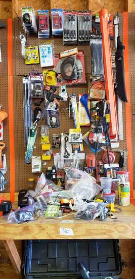 Level, Rachets, Saw Blades, Screwdrivers, Multimeter Tester, Misc. Items