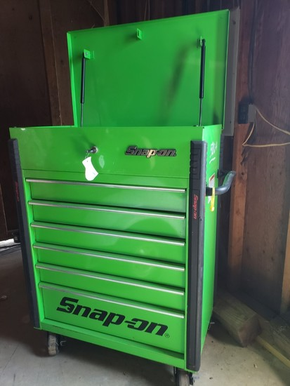 Snap-On Tool Box, Green, with Six Drawers & Storage under the Locking Lid.