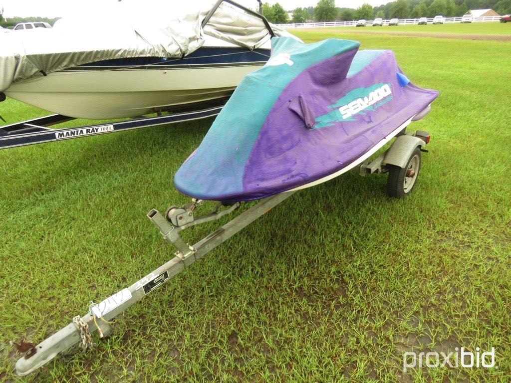 Lot: 1997 SeaDoo Jet Ski, s/n ZZN55360A797 w/ Trailer (No
