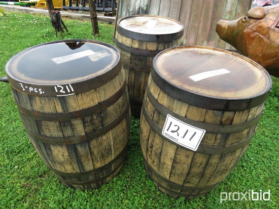 (3) Whiskey Barrels