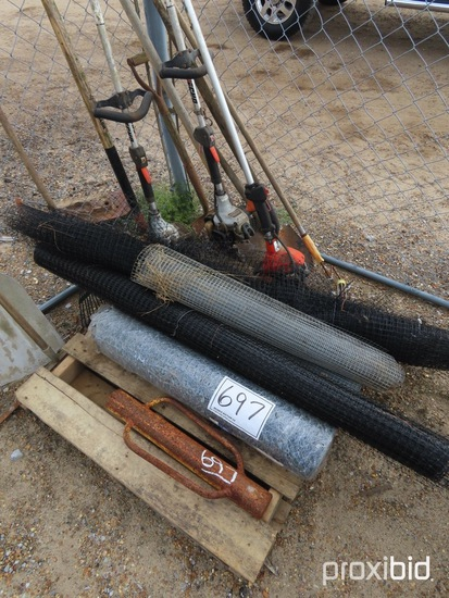 Lot of Hand Tools, Temp Fencing, Wire Fencing, Post Hole Driver