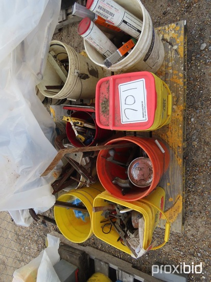Lot of Misc. Tools, Buckets of Hammers, Files, Pipe Wrenches, Measure Tapes