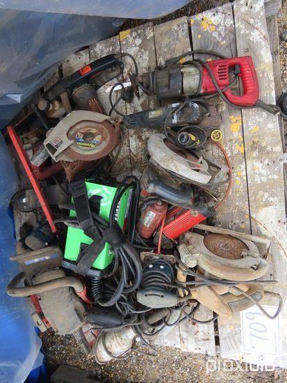 Lot Containing Power Saw, Drills, SawzAll, Welder